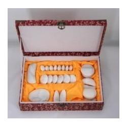 Juego 24 piedras de mármol blanco para masaje
